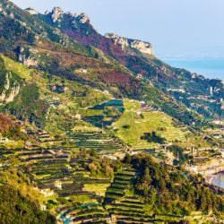 Blick von Ravello auf die Amalfi Küste (Kampanien) - Vino Culinario