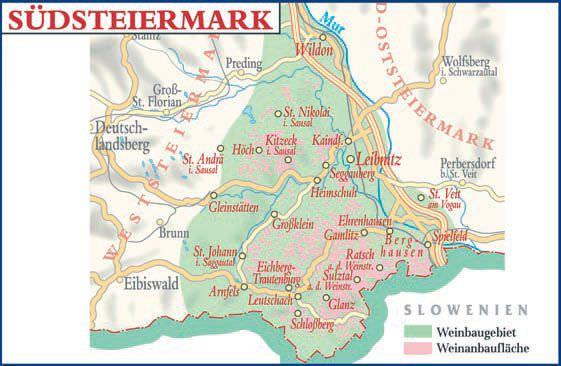 Weinanbaugebiet Südsteiermark Österreich Karte - Vino Culinario