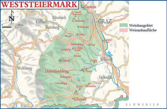 Anbaugebiet Weststeiermark Österreich Karte - Vino Culinario