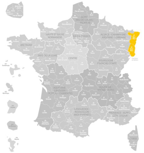 Weinanbaugebiet Alsace Elsass Landkarte Frankreich