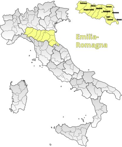 Weinbaugebiet Emilia-Romagna Landkarte - Vino Culinario
