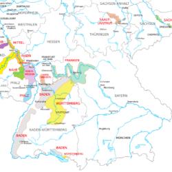 Übersichtskarte: Weinanbaugebiete in Deutschland