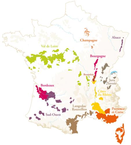 Weinanbaugebiete in Frankreich Karte