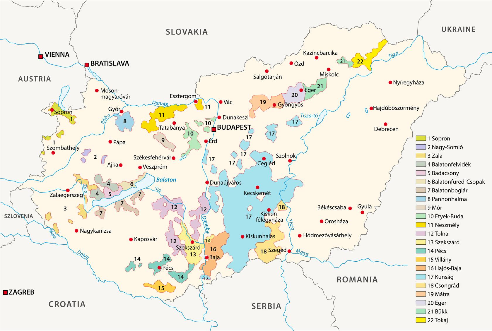 Weinanbaugebiete in Ungarn Landkarte - Vino Culinario