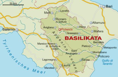Weinbaugebiet Basilikata - Vino Culinario