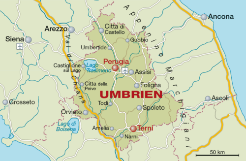 Weinbaugebiet Umbrien - Vino Culinario