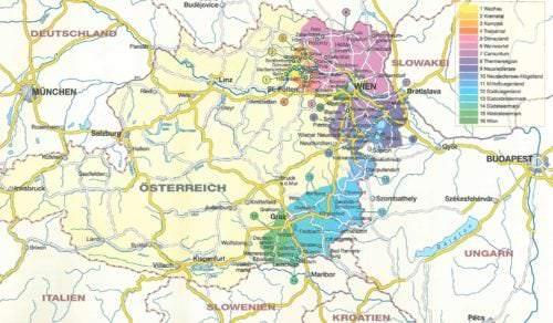 Übersichtskarte Weinanbaugebiete Österreich - Vino Culinario
