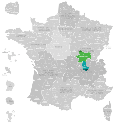 Weinanbaugebiet Beaujolais Landkarte Frankreich