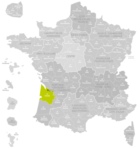 Weinanbaugebiet Bordeaux Bordelais Landkarte Frankreich