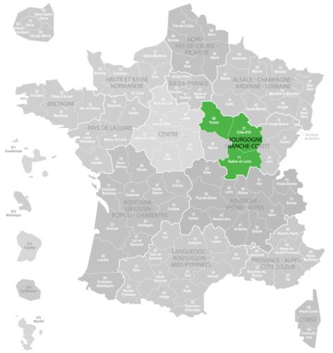 Weinanbaugebiet Burgund Bourgogne Landkarte Frankreich