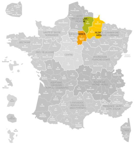 Weinanbaugebiet Champagne Landkarte Frankreich