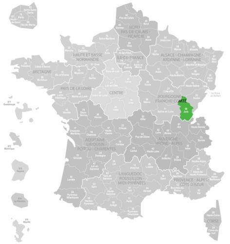 Weinanbaugebiet Jura Landkarte Frankreich