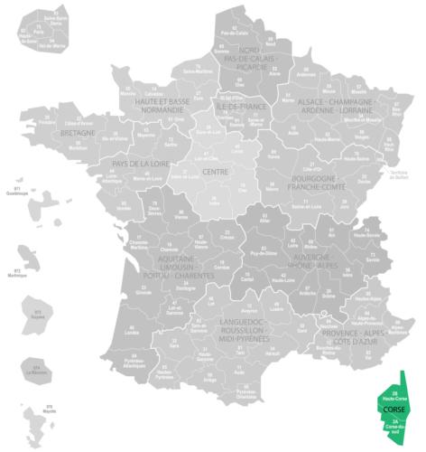 Weinanbaugebiet Korsika Landkarte Frankreich