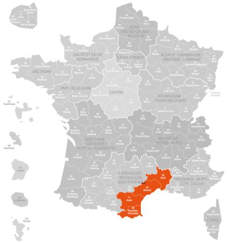 Weinanbaugebiet Languedoc-RoussillonLandkarte Frankreich