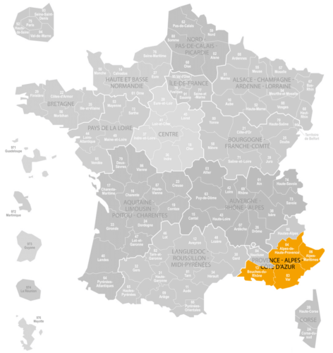 Weinanbaugebiet Provence Landkarte Frankreich