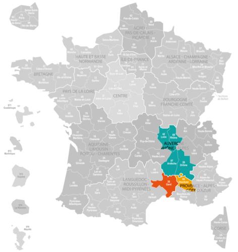 Weinanbaugebiet Rhone Landkarte Frankreich