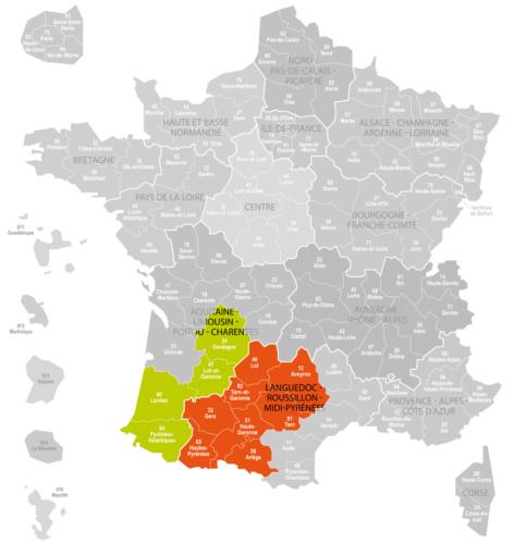Weinanbaugebiet Sud-Ouest Landkarte Frankreich