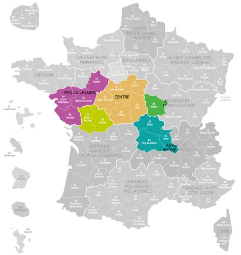 Weinanbaugebiet Val de Loire Landkarte Frankreich